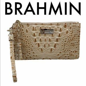 BRAHMIN NWT GOLD TAN LEATHER CLUTCH WRISTLET BAG